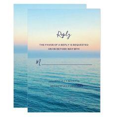 #Sunset Skies Beach Ocean Wedding RSVP Card - #rsvp #cards épondez s'il vous plaît