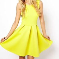 ASOS Skater Dress in Scuba Fabric Lime Size 4 Purchased and worn twice. Still in excellent condition. More pictures coming soon. Price is firm. No trades/PayPal! ASOS Dresses