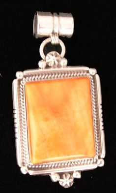 """Navajo pendant sterling silver with  square shell cabuchon, Hallmarked """"B"""" MR13 A beautiful Christmas gift"""