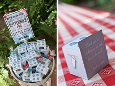 """Americana baby shower: """"bun in the oven"""" favor boxes with mini buttermilk pies :)"""