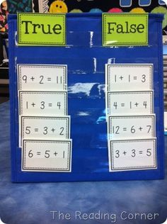 math center idea, sorting equations, could modify this to sort ways to make 10 from other facts, doubles facts, doubles +1 etc., more math ideas here: https://goo.gl/ehwNbt