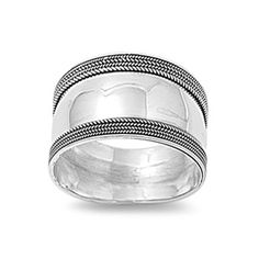 Sterling Silver Women's Bali Ring Wide 925 Band Rope Milgrain Look Size 9 (RNG15077-9)