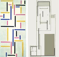 """Theo van Doesburg, """"Russian Dance"""" - 1918    Mies van der Rohe, Barcelona Pavilion floor plan - 1929    Mies van der Rohe, Barcelona Pavilion floor plan - 1929"""
