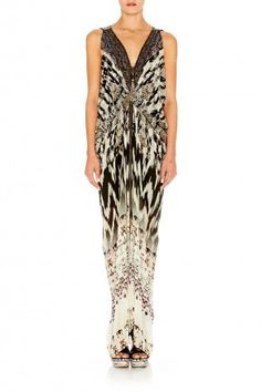 CALL OF THE WILD LONG DRAPE DRESS W/ ZIP FRONT