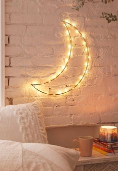 Geo Moon Light Sculpture Urban Outfitters - Buying Home - What to be awared before buying home? Check this out - Geo Moon Light Sculpture Urban Outfitters Novelty Lighting, Easy Home Decor, Bedroom Inspo, Bedroom Ideas, Bedroom Wall, Kids Bedroom, Fairy Bedroom, Winter Bedroom, Bedroom Images