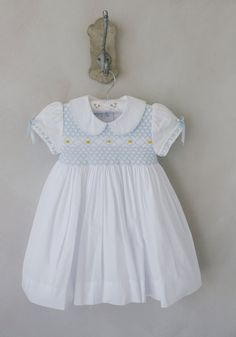 Adelaide Dress - classic children's clothing with smocking by Little English. Spanish Baby Clothes, English Clothes, Smocked Baby Clothes, Smocked Dresses, English Dress, Organic Baby Clothes, Vintage Baby Clothes, Baby Girl Fashion, Little Girl Dresses