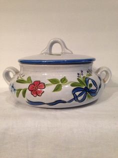 N.S. Gustin Co. Covered Casserole, Hand Painted, Vintage, Los Angeles, Floral, Kitchen Decor, Bakeware, Collectible, Ceramic, Covered by Sunshineoftreasures on Etsy