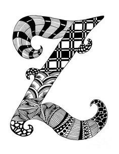 Zentangle Letter Z Monogram Drawing