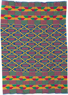 Kente Cloth made by the Ashanti and Ewe people of Ghana. Handwoven Rayon/Cotton mix, Cotton, or Silk.