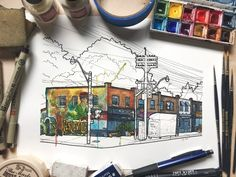 Leslieville watercolour painting can be found at www.tyleensart.com