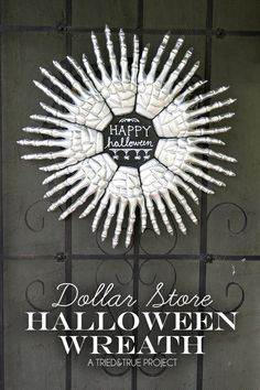 Dollar Store Skeleton Hands Halloween Wreath by Tried&True