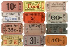 24pcs VINTAGE ADMISSION TICKETS 1930s-60s Carnival Theater Show on Etsy, $5.34 AUD
