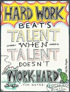 Talent is great... but if it doesn't work hard, it will lose.