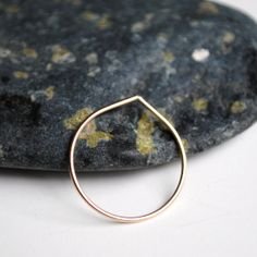 Thin Gold Ring Stacking Rings Raindrop by HouseofStonez on Etsy, $20.00