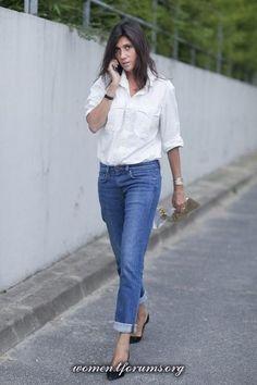 Emmanuelle Alt белая рубашка + джинсы