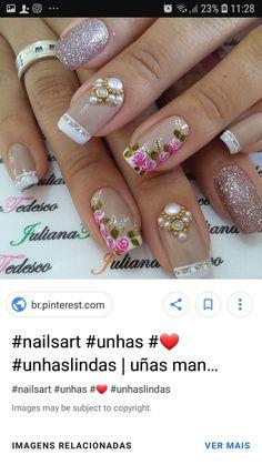 Uñas Art Nails, Nail Arts, Nail Ideas, Manicure, Nail Designs, Floral, Beauty, Flower Nails, Nail Design