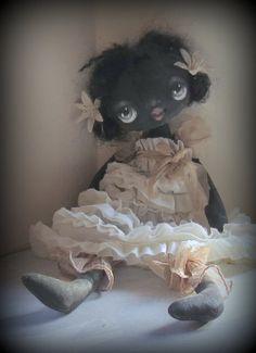 Black Angel Cloth doll  in Vintage fabric