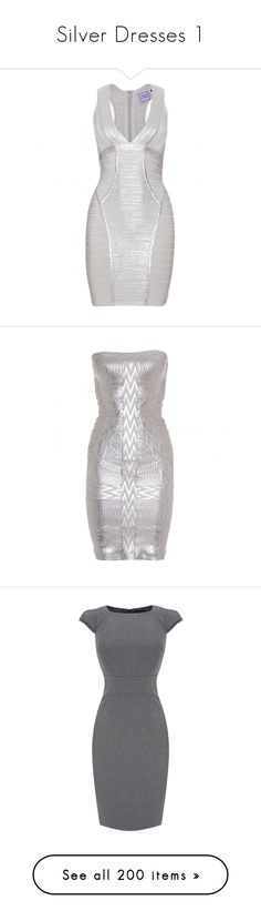 """Silver Dresses 1"" by kingcrimson ❤ liked on Polyvore featuring dresses, herve leger, vestidos, robe, short dresses, silver combo, short bandage dress, white bandage dress, deep v neck mini dress and short white cocktail dress"