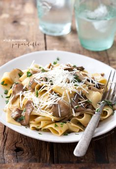 Wild Mushroom Papardelle with Hen of the Woods and Porcini mushrooms and homemade wide papardelle noodles.