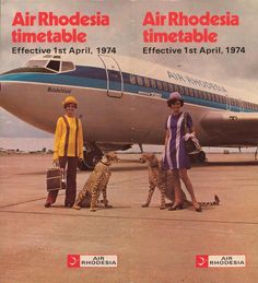 Air Rhodesia ad in They later rebranded as Air Zimbabwe. Airline Travel, Air Travel, Air Zimbabwe, Namibia, Vintage Travel Posters, Flight Attendant, Africa Travel, Marketing, South Africa