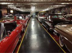 Rows of cars at the Volo Auto Museum, Volo, IL.