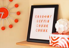 free photo tutorial- 'Posters with Cut-Out Lettering' This is such a Quick Project with Maximum Punch Added to your Home Decor!! Just pick a favorite quote or phrase, et voila! *from How About Orange