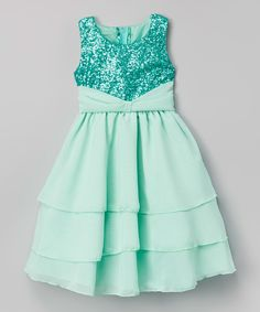 Look at this Kid Fashion Turquoise Sequin Ruffle Dress - Infant, Toddler & Girls on #zulily today!