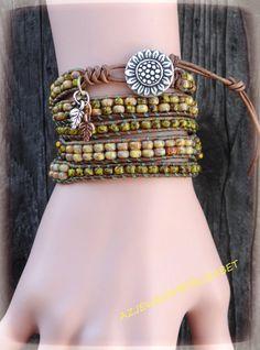 Spectacular Sunflower Wrap Bracelet With by AZJEWELRYBYELIZABETH