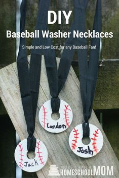 DIY Baseball Washer Necklaces - Are you looking for a teacher gift, father's day gift, or coach gift? Try these simple DIY necklaces as a fun easy gift.