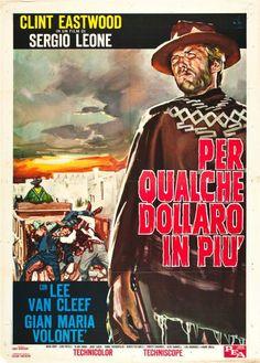 For A Few Dollars More Italian movie poster. 1965 2F styleB. Sergio Leone. Clint Eastwood. Lee Van Cleef.