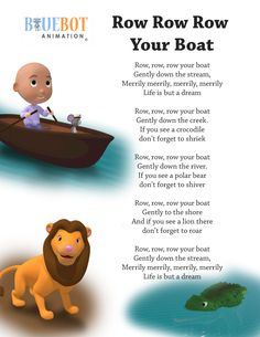 Row row row your boat nursery rhyme lyrics Free printable nursery rhyme lyrics page. Row row row your boat, nursery rhyme lyrics. by Bluebot animation. (TAG : Nursery Rhyme (Literature Subject), - Kids education and learning acts Rhyming Preschool, Nursery Rhymes Preschool, Rhyming Activities, Kids Nursery Songs, Nursery Rhymes For Toddlers, Kids Poems, Children Songs, Rhymes For Children, English Poems For Children