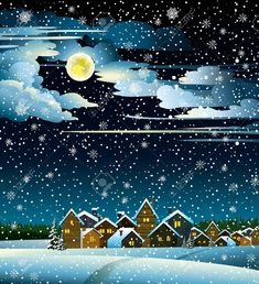 Winter Landscape With Snow Houses, Forest And Fool Moon Royalty Free Cliparts, Vectors, And Stock Illustration. House Illustration, Landscape Illustration, Illustrations, Christmas Scenes, Christmas Art, Winter Drawings, Winter Art, Winter Night, Christmas Paintings