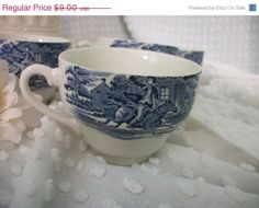 Black Friday Sale Vintage Set of Four Blue Transfer by Booth58