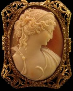 "Magnificent 2"" Shell Cameo of Cleopatra Queen of the Nile Brooch & Pendant"