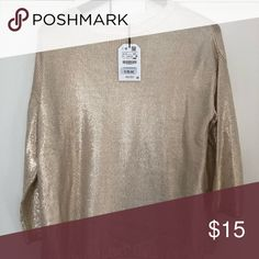 Metallic soft gold sweater Brand new soft draped sweater with cropped  sleeves . Zara Sweaters Gold f0a53ffd6a78c