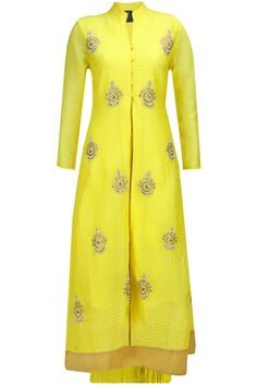 Yellow embroidered pintucks kurta with crushed skirt available only at Pernia's Pop-Up Shop.