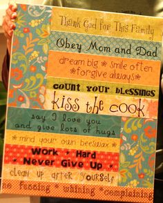 """Make your own """"Family Rules"""" canvas>>>> or could do with quotes"""