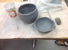 Ready to attach these two bowls together and start to form what will actually look like a vase