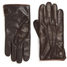 Saks Fifth Avenue Collection Leather Texting Gloves (£75) ❤ liked on Polyvore featuring men's fashion, men's accessories, men's gloves, apparel & accessories, brown, mens brown leather gloves, mens leather accessories and mens leather gloves