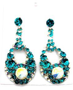 Hot Fashion Rhodium Finish Women Party Blue Zircon AB Clear Austrian Crystal  Drop Crystal Dangle Pierced Earring by nostalgicpearls on Etsy