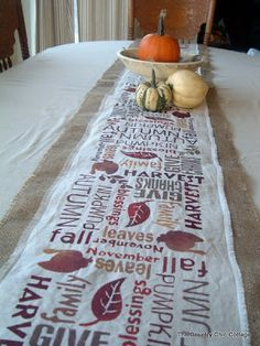 Subway Art Burlap Table Runner - Point of View - * THE COUNTRY CHIC COTTAGE (DIY, Home Decor, Crafts, Farmhouse) * Stencils cut with my Silhouette