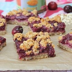 The ultimate summer dessert combo! Cherries and almond...these squares are sweet enough for dessert, healthy enough for breakfast!