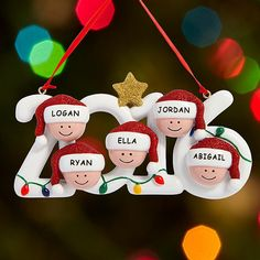 Warm Mitten Family© Personalized Ornament - 5 Name - Ornament Gifts ...
