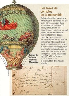 King Louis XV donates 40000 livres in 1787 as a downpayment for the production of a hot-air balloon by the Montgolfier brothers