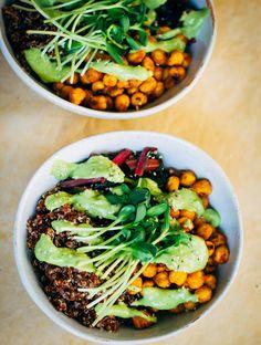 Quinoa Nourish Bowl w/ The Best Avocado Dressing   Well and Full   #vegan #plantbased #recipe