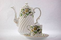 5 Vintage Aynsley Porcelain Apple Blossom by SummitAntiqueCup