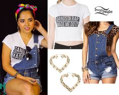 Becky G: Gangsta Rap Tee, Denim Overalls Becky G Outfits, Dope Outfits, Outfits For Teens, Pretty Outfits, Casual Outfits, Summer Outfits, Swag Outfits, Teen Fashion, Love Fashion