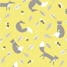 Mr Fox Print Fabric Yellow & Grey Linen Look 100% Cotton Novelty Fabric Dressmaking Patchwork Nursery Curtains Soft Furnishings, Crafts etc.