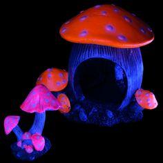 Glow Elements Shrooms and Toadstool Ornaments   thatpetplace.com Glofish Pure Aquatic Glow Fish