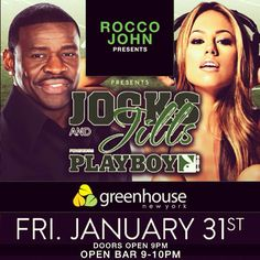 Model Jessica Hall with NFL Network Analyst and Hall of Famer, Michael Irvin. February 1, 2014 at Jocks & Jills event in NYC